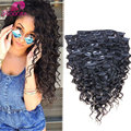 Clip In Human Hair Extensions Deep Curly Virgin Brazilian Human Hair African American Clip In Hair Extensions 7A Clip In Stocked