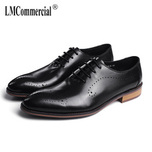 High Quality Genuine Leather Shoes Men,Lace-Up Business Men Dress British retro men shoes all-match cowhide