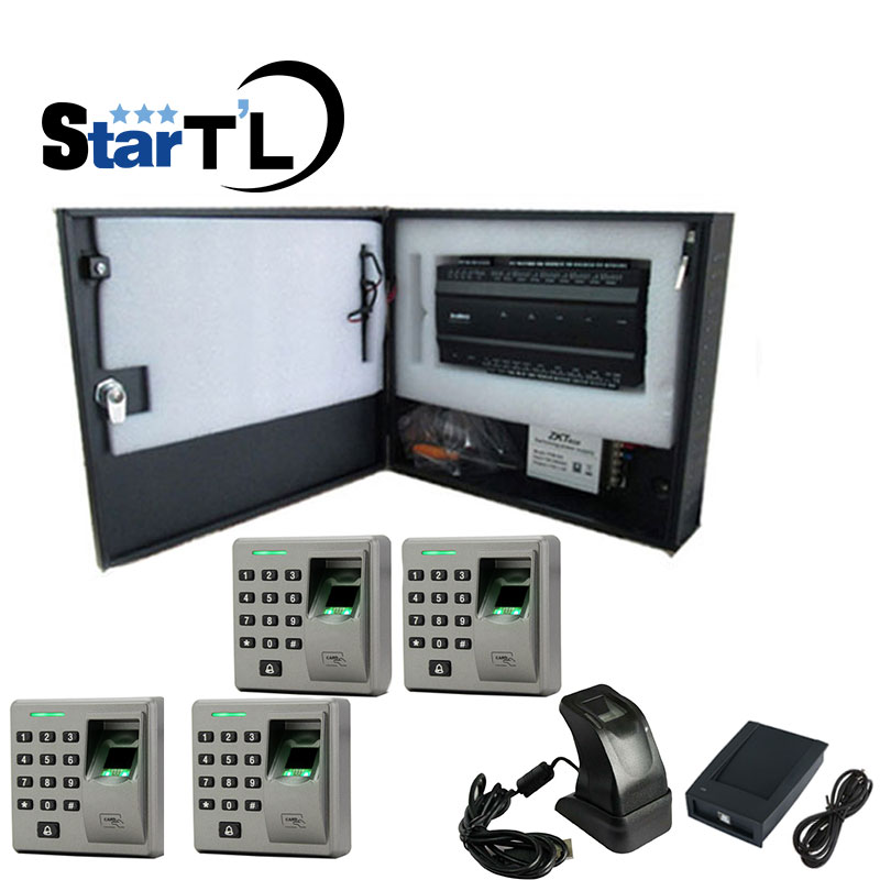 Inbio260 Access Control Panel FR1300 RS485 Fingerprint reraderTwo Door Two Way+ZK4500+Exit Button Access Control System