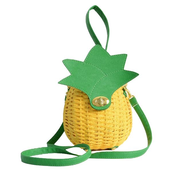 5) 1 Pcs New Straw Bag New Cute Fruit Bag Pineapple Package Pure Handmade Woven Circular Handbag (Color: Yellow) 10 pcs pineapple embroidered patches