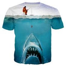 PLstar Cosmos 2019 Summer New Fashion t shirt Funny Ice Fishing 3D Shark Prints Casual Tees XS-7XL