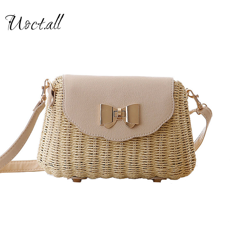 Handmade Woven Straw Bohemian Beach Bag for Women Summer Bow Hollow Out Crossbody Bags Crochet Basket Shoulder Bag feminina handmade flower appliques straw woven bulk bags trendy summer styles beach travel tote bags women beatiful handbags