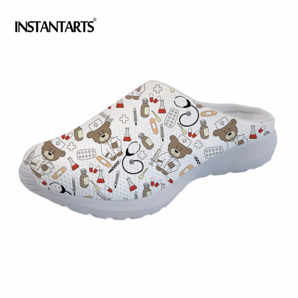 INSTANTARTS Funny 3D Printing Girl Summer Slip On Sandals Cute Cartoon Nurse Bear Design Woman's Shoes Lightweight Beach Slipper