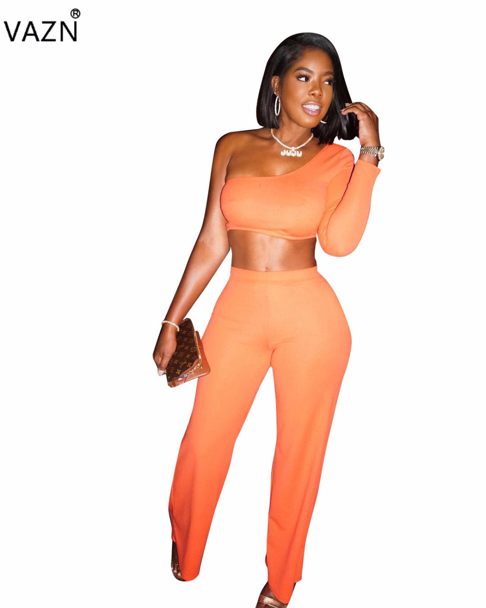 VAZN 2018 summer hot solid 2-pieces jumpsuits women bodycon one shoulder full sleeve jumpsuits ladies hollow out jumpsuits H897