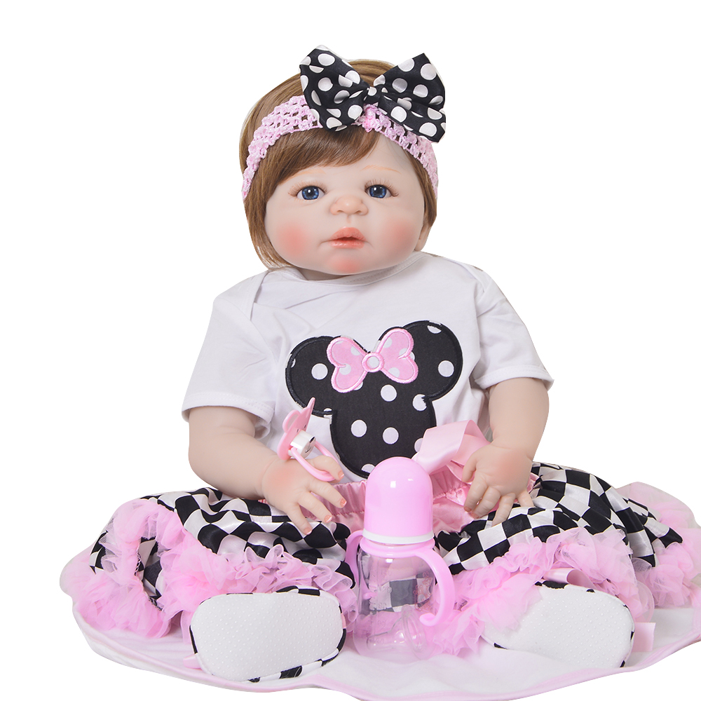 Lifelike 22'' 55cm Full Body Silicone Reborn Baby Doll Cute Ethnic Girl Baby Doll Toy For Sale Child Christmas Gift Kid Playmate 55cm full body silicone reborn baby doll toys lifelike baby reborn princess doll child birthday christmas gift girls brinquedos