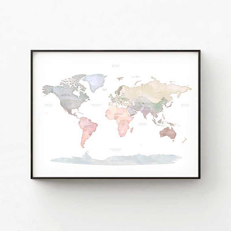 Modern Map Of The World.Watercolor World Map Poster Canvas Painting Wall Picture Modern Pastel Colors Map Of The World Art Prints Home Room Decoration