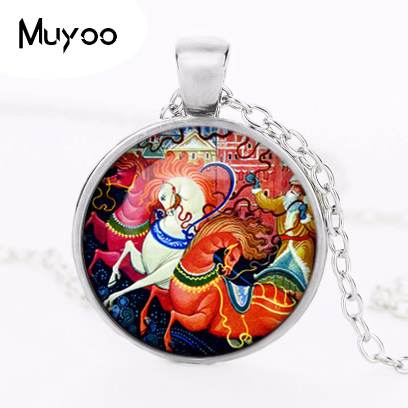 2016 New Russian Christmas Horses Vintage Glass Cabochon Pendant Black Chain Necklace Man Woman Dome Jewelry Chidren Gifts HZ1