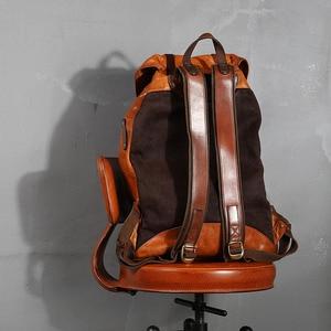 Image 2 - Warzyw skóry wołowej garbowanej męska plecak mężczyzna Retro torba o dużej pojemności mężczyźni wiadro podróży plecaki nowy oryginalny 2020