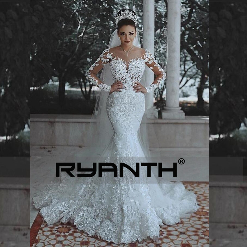 Vestidos de Novia Sexy Long Sleeves Lace Wedding Dress 2018 New See Through Back Lace Mermaid Robe De Mariage Custom Made Gowns-in Wedding Dresses from Weddings & Events    2