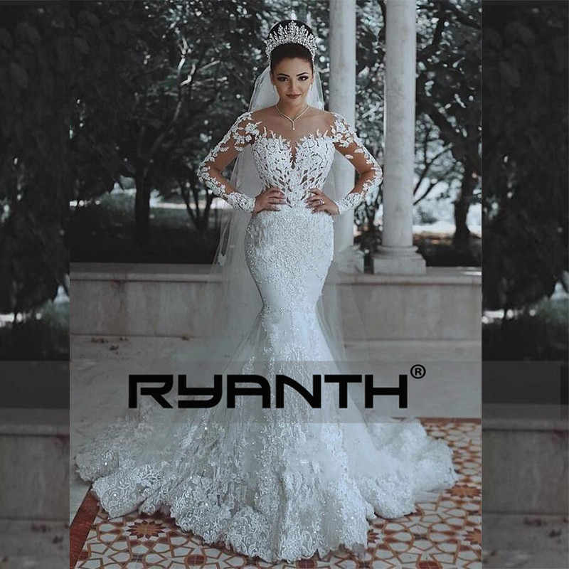 Vestidos De Novia Sexy Long Sleeves Lace Wedding Dress 2018 New See Through Back Lace Mermaid Robe De Mariage Custom Made Gowns