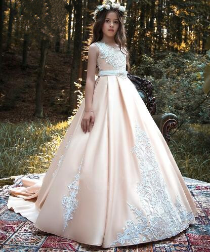 New Pink Girls Pageant Gown Lace Ball Gown Flower Girls Dresses for Wedding Communion Gown Size 2-16Y vintage flower girl dresses for wedding jewel neck ankle length girls pageant gown with lace beaded sash backless communion gown