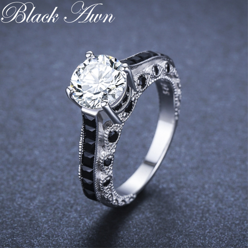 Luxurious 5.6g 925 Sterling Silver Fine Jewelry Trendy Engagement Bague Black Spinel Leaf Women's Wedding Ring Bijoux Femme G015