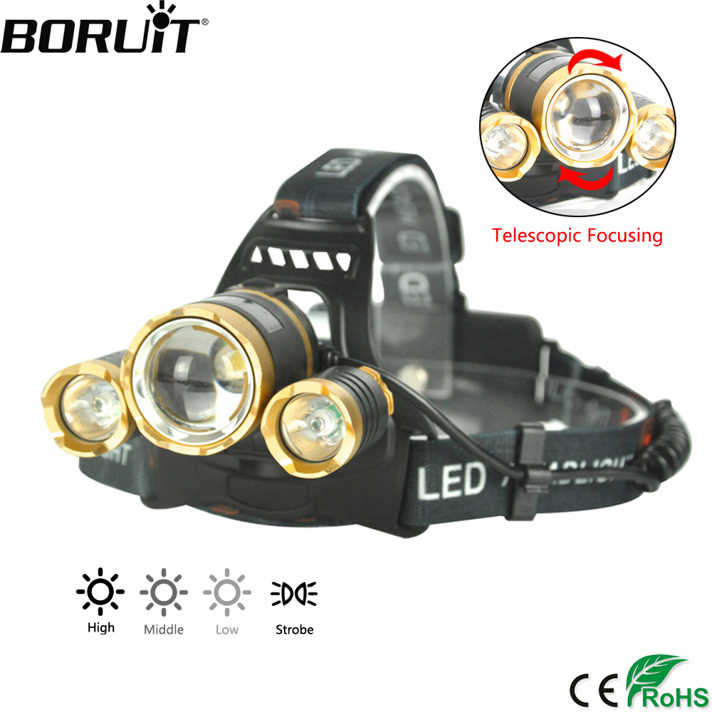 BORUiT Golden Flashlight 3000LM XML T6 R2 LED Headlight 4-Mode Zoomable Headlamp Hunting Camping Head Torch by 18650 Battery