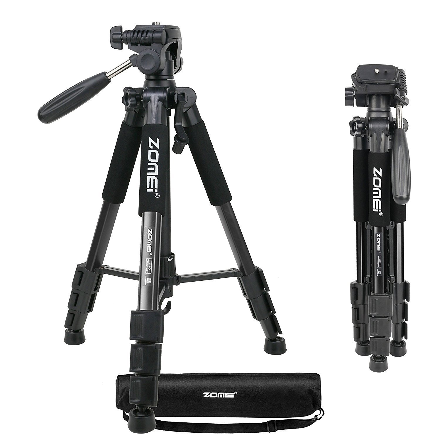 ZOMEI Q111 Portable Professional Light Weight Traveler Tripod with Pan Head for Camera DSLR DV Canon Nikon Sony Smartphone Black 3730 professional tripod for nikon canon sony dslr camera aluminum tripod with pan head gimbal stand for gopro hero dv cameras