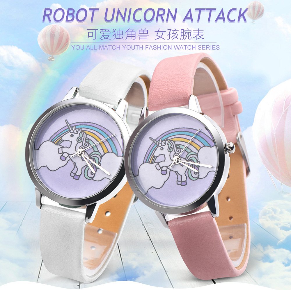 купить fashion Womens Cartoon Wrist Watches Ladies Girls Clock Cute Animal Unicorn Dial Leather Band Analog Alloy Quartz Wrist Watches по цене 155.71 рублей