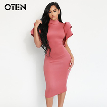 OTEN 2019 Women Summer Sexy Stand Collar Ruffle Sleeve Backless Club Sheath Bodycon Midi Warp Cocktail Party Dresses for ladies