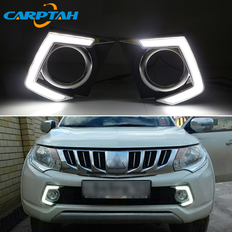 LED Daytime Running Light For Mitsubishi L200 Triton 2015 2016 2017 2018 Waterproof 12V Fog Lamp Decoration Bumper Light LED DRL