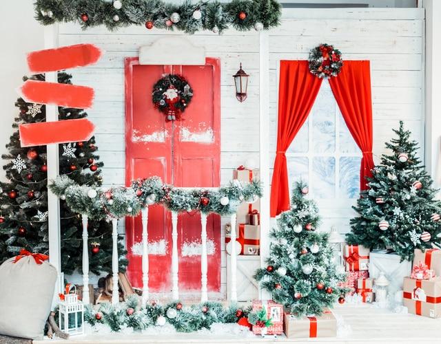 577 35 De Descuentonavidad Fotografía Fondo Nieve Puerta Roja Niños Foto Telón De Fondo Navidad Tema Decoración Fondo Recién Nacido Vinilo