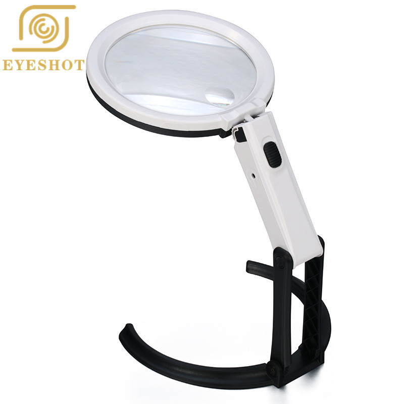 Excellent Quality Foldable 2.5X 8X Table Desk Magnifier Loupe Magnifying Glass Lens with 12 LED Light + EU Plug