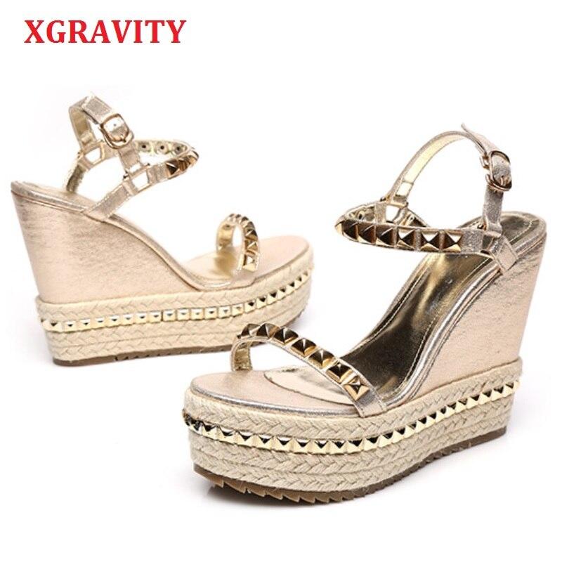 XGRAVITY Spring Summer Lady Fashion High Heel Wedge Sandals Dress Rivets Design Lady Fashion Wedges Hemp