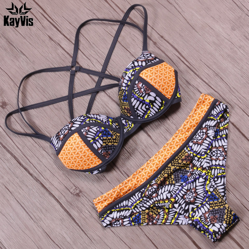 KayVis 2017 New Sexy Bikinis Women Swimsuit Push Up Bikini Set Bathing Suits Halter Summer Beach Wear Plus Size Swimwear bikinis women swimsuit push up swimwear women 2017 new sexy bandeau print brazilian bikini set beach wear bathing suits biquini