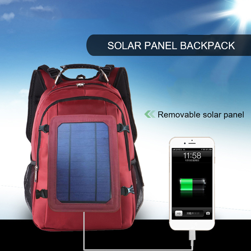 Oxford Cloth Men s Solar Charging Travel Bag Large Capacity Outdoor Backpack Detachable Solar Energy Charging