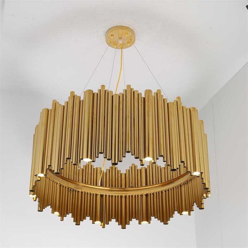 Desain Italia Emas Menyenangkan Brubeck Lampu Gantung Tabung Paduan Aluminium Suspensi Luminer Proyek Fashion Lampu