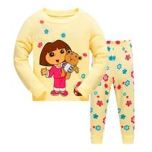 Купить с кэшбэком Kids Dora Pijamas Sleepwear Girl Pyjamas Kids Pajamas Sets 80-130cm Kids Clothes Nightwear Homewear Toddler Clothes Garcon Suits