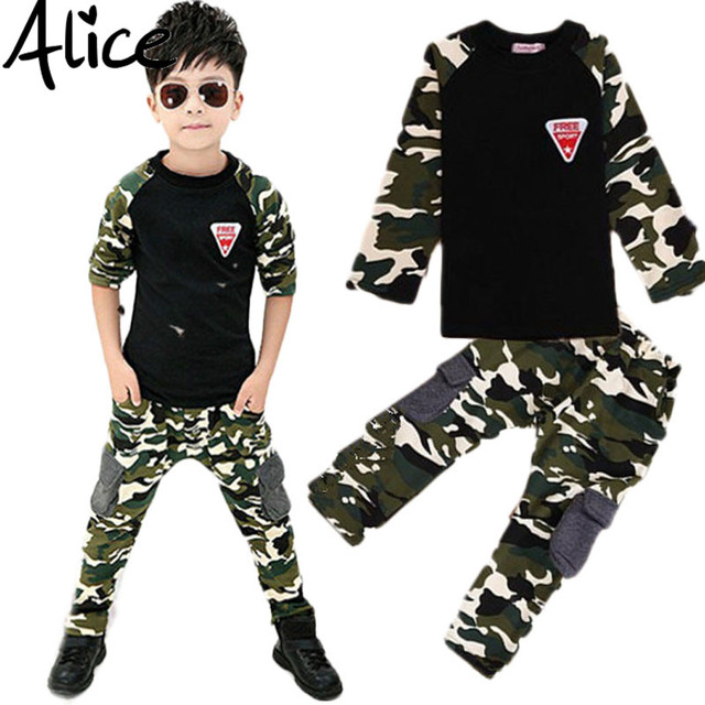 2016 Nova Camuflagem Kids Clothing Set para Boys & Girls Primavera & Outono Algodão Camo Esportes Dos Meninos Definir Meninas Ativos Conjuntos de roupas