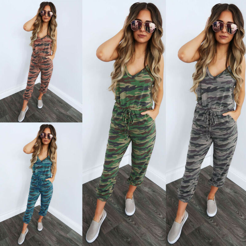 New Women Sleeveless Camouflage Jumpsuit Rompers Ladies Summer Slim Fit Pants Trousers Playsuit Casual Holiday