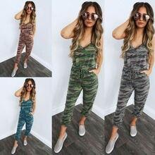 New Women Sleeveless Camouflage Jumpsuit Rompers Ladies Summer Slim Fit Pants Tr