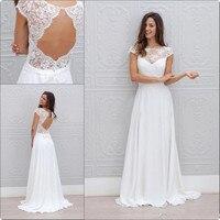 2019 New Bohemia Summer Beach Evening Dresses Vestido De Noiva China Garden Backless Boho A line Chiffon Bridal Gowns for Women