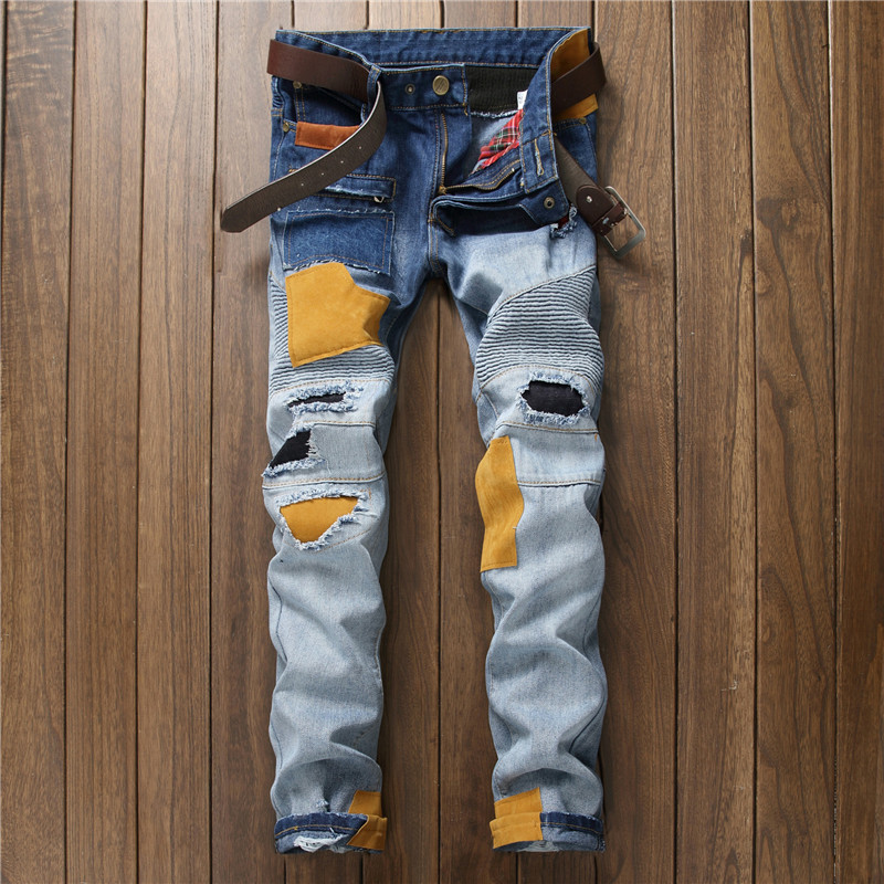 NEW Distressed Patchwork Jeans Men Ripped Jeans Scratched Biker Jeans Hole Denim Straight Slim Fit Casual Casual Moto Pants