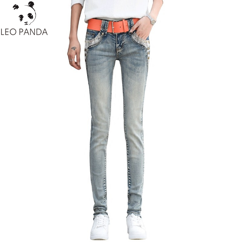 2019 Fashion New Female   Jeans   Pants Spring Autumn Low Waist Denim Pant Women's Trousers Slim Retro Feet Cowboy Pants HD29