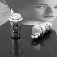 Pingente para cafeteira diy em 3d, xícara de café com 10 peças, pingente para colar pulseira, faça você mesmo, chaveiro, materiais de artesanato 8x18mm a3144