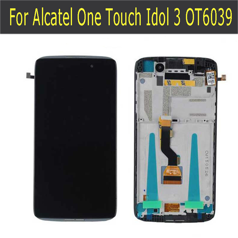ФОТО LCD Display with Digitizer Touch Screen Assemblely For Alcatel One Touch Idol 3 OT6039 6039 with Frame