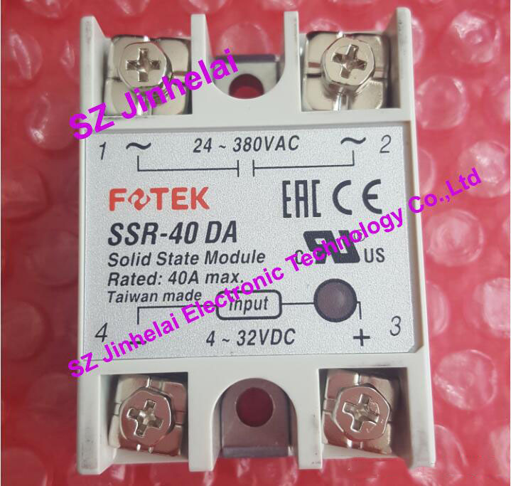 100% New and original SSR-40DA FOTEK SOLID STATE RELAY 4-32VDC 24-380VAC 40A new and original sa366200d sa3 66200d gold 3 phase solid state relay 4 32vdc 90 660vac 200a