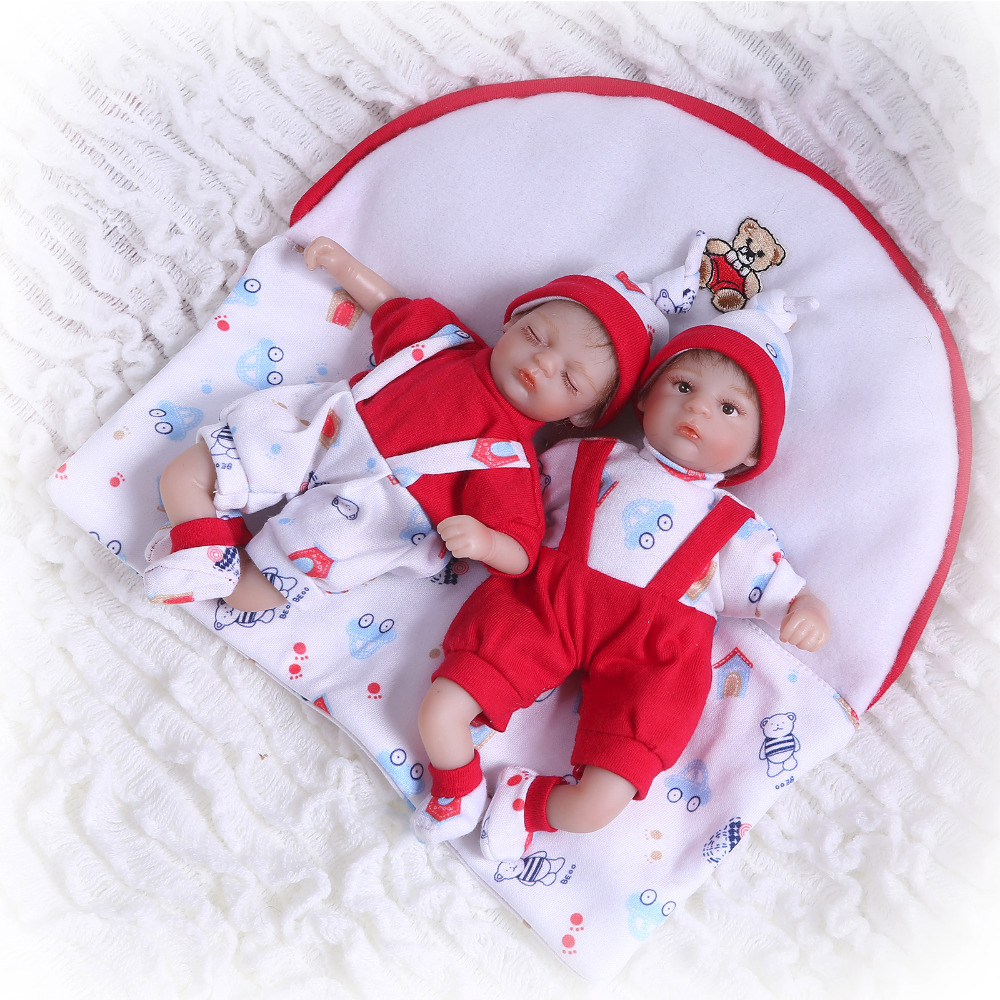 Nicery 8inch 20cm Bebe Reborn Mini Doll Soft Silicone Lifelike Toy Gift For Child Christmas Red Clothes Two Dolls