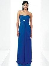 2015 Cheap Custom Blau Chiffon Lange Abschlussball-kleid-trägerlose Plus Größe Bodenlangen Abendkleider Kleider F241
