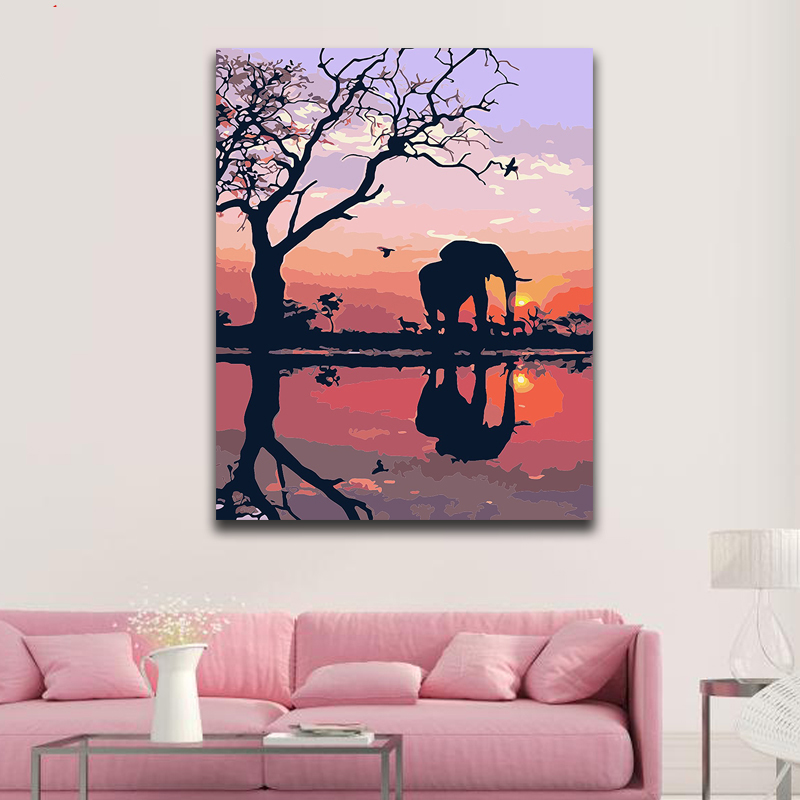 DIY Coloring Paint By Numbers Elephant In The Sunset Paintings By Numbers With Kits 40x50 Framed