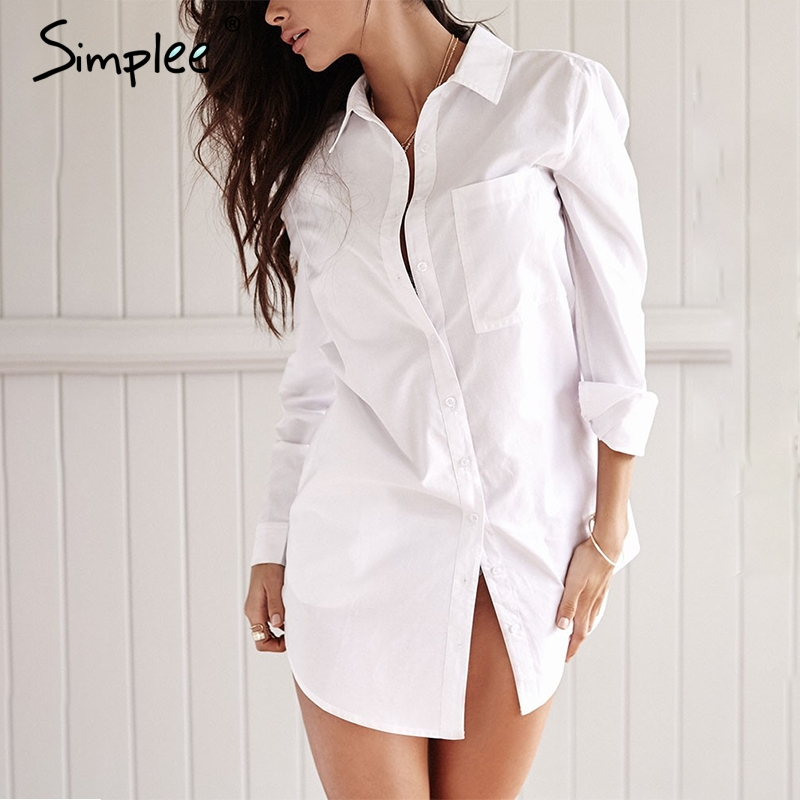 Simplee White stand v neck   shirt   summer Cotton full sleeves   blouse     shirt   Casual long   blouse   office lady