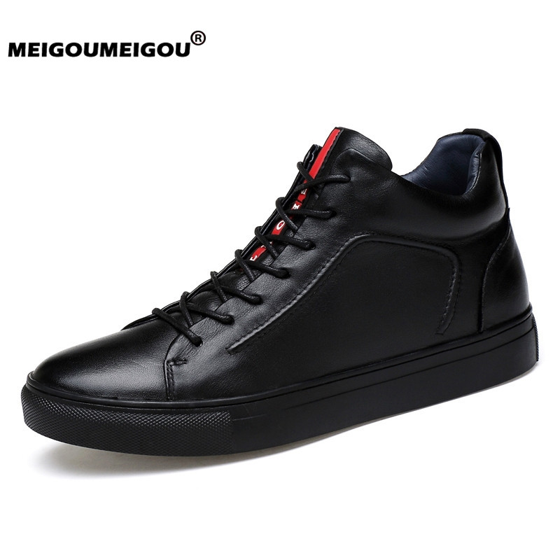 2019 Genuine Leather Men Shoes High Top Casual Leather Boots Fashion Male Shoes Comfortable Winter Moccasins Soft Men Sneakers