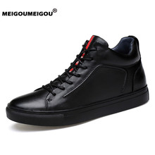 2019 Genuine Leather Men Shoes High Top Casual Leather Boots