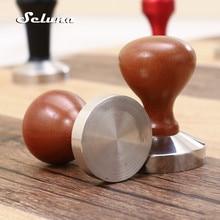 Seluna Stainless Steel Flat Oak Wood Handle Coffee Tamper 51mm 58mm Barista Espresso Coffee Maker Manual Grinder High Quality