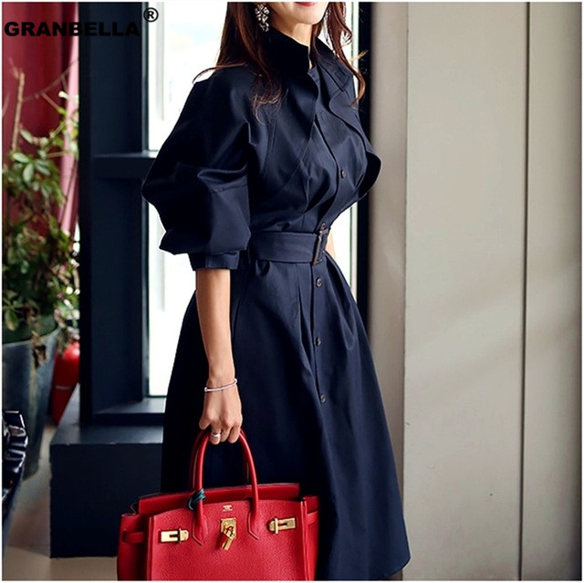 New Work Wear Spring Summer Thin Long Stand Collar Trench Coats 2019 Women's Outwear Elegant Sashes For Women Windbreaker TR004
