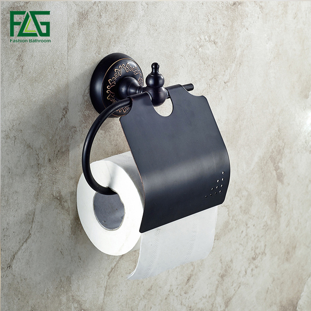 Flg Wall Mounted Bathroom Accessories Toilet Paper Holder Black Towel