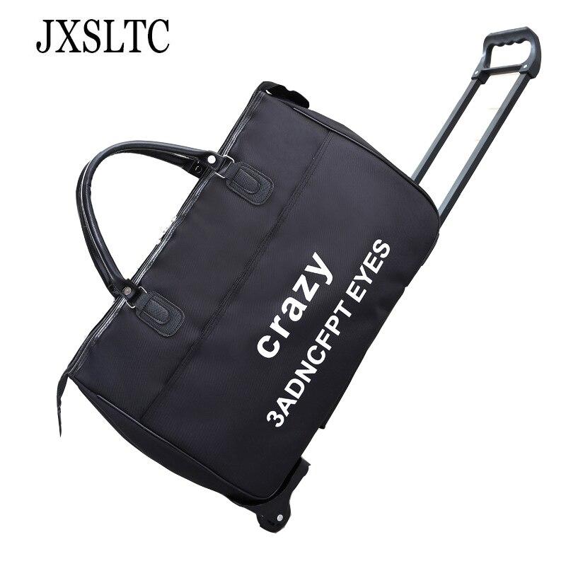 Luxury High-capacity Travel Bag on Wheels Women Tote Bags Waterproof Rods Suitcase Travel Bolse Organizer Bag for Male Black