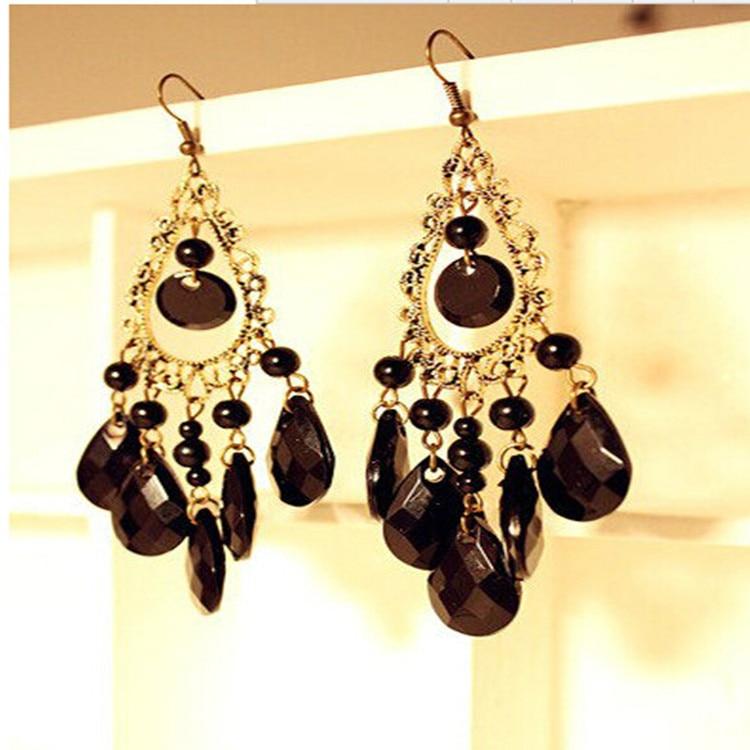 2016 Retro Fashion Hollow Tassel Earrings Long Big Hanging -1810