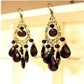 2016 Retro Fashion Hollow Tassel Earrings Long Big Hanging Luxury Vintage Big Black Water Drop Earrings With Stone For Women