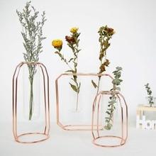 Glass Vase Plant Stand Decorative Metal Garden Patio Wedding Standing Flower Pot Rack Display With Modern Water Planter